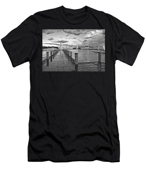 Yacht And Beach Lighthouse In Black And White Walt Disney World Men's T-Shirt (Athletic Fit)