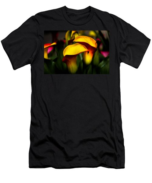 Yellow And Red Calla Lily Men's T-Shirt (Slim Fit) by Menachem Ganon
