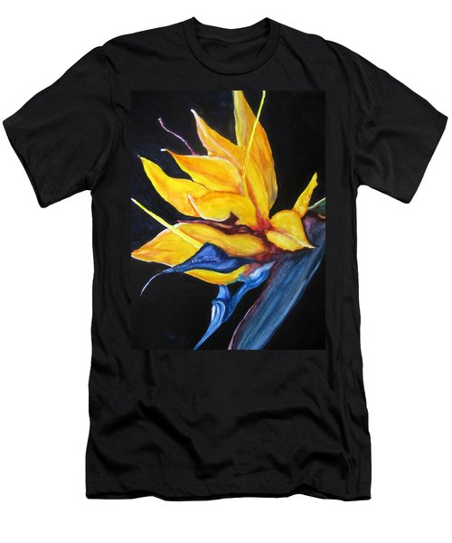 Men's T-Shirt (Slim Fit) featuring the painting Yellow Bird by Lil Taylor