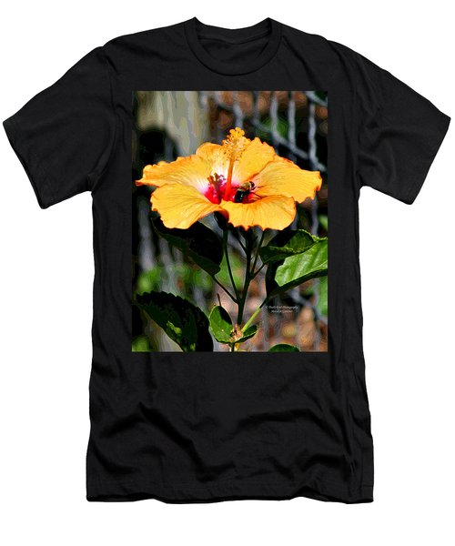 Yellow Bumble Bee Flower Men's T-Shirt (Athletic Fit)