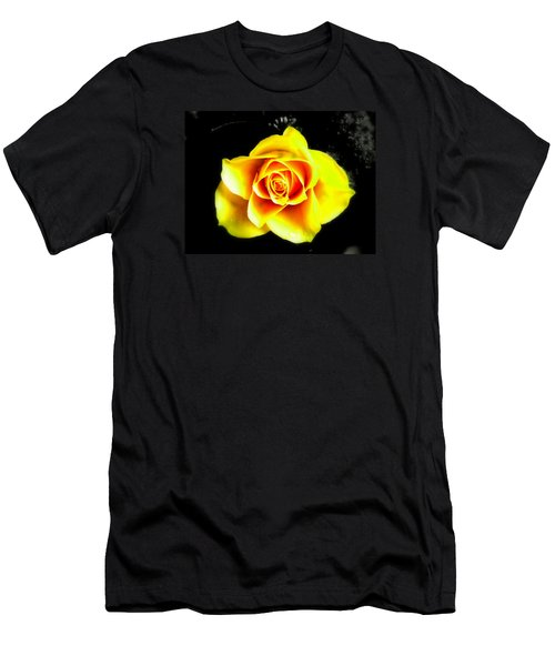 Yellow Flower On A Dark Background Men's T-Shirt (Athletic Fit)