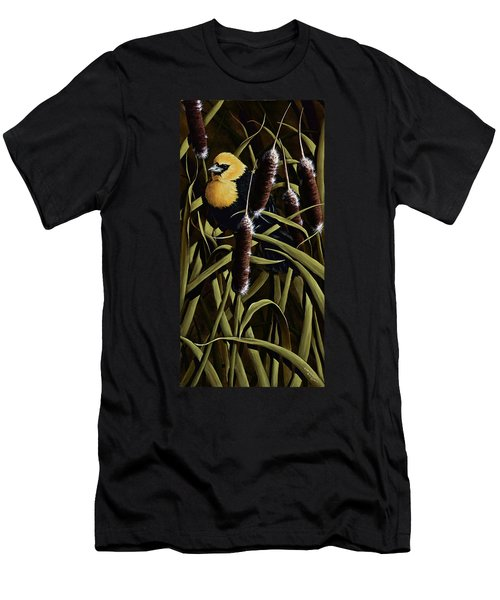 Yellow Headed Blackbird And Cattails Men's T-Shirt (Athletic Fit)