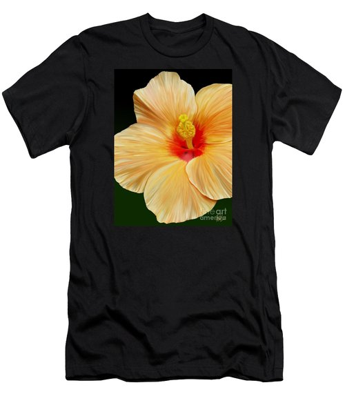 Men's T-Shirt (Slim Fit) featuring the painting Yellow Hibiscus by Rand Herron