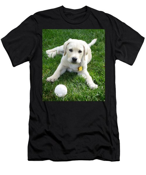 Yellow Lab Puppy Got A Ball Men's T-Shirt (Athletic Fit)
