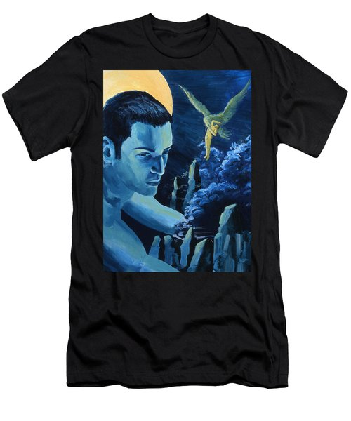 Men's T-Shirt (Athletic Fit) featuring the painting Yellow Moon by Rene Capone