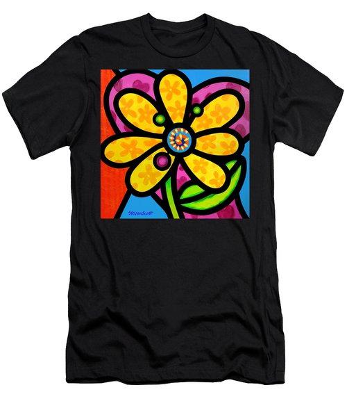 Yellow Pinwheel Daisy Men's T-Shirt (Athletic Fit)