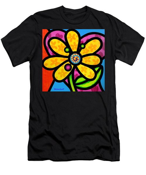 Yellow Pinwheel Daisy Men's T-Shirt (Athletic Fit)