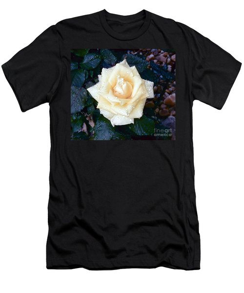 Men's T-Shirt (Slim Fit) featuring the photograph Yellow Rose At Dawn by Alys Caviness-Gober