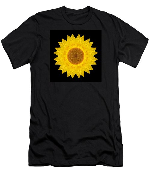 Yellow Sunflower Ix Flower Mandala Men's T-Shirt (Athletic Fit)