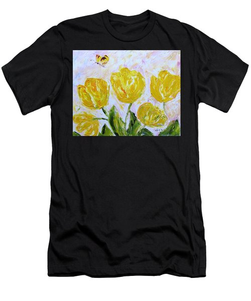 Yellow Tulips And Butterfly Men's T-Shirt (Athletic Fit)