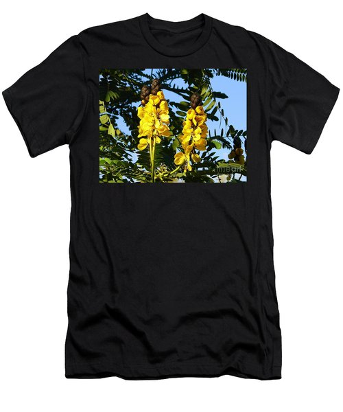 Men's T-Shirt (Slim Fit) featuring the photograph Yellow Twins by Lew Davis