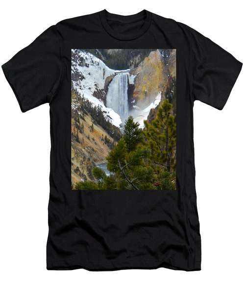 Men's T-Shirt (Slim Fit) featuring the photograph Yellowstone Lower Falls In Spring by Michele Myers