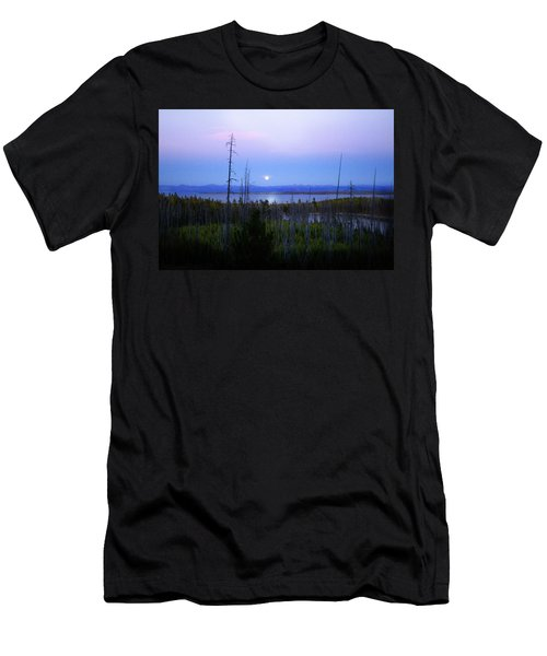 Men's T-Shirt (Slim Fit) featuring the photograph Yellowstone Moon by Ann Lauwers