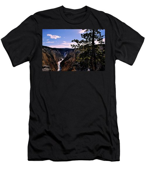Men's T-Shirt (Slim Fit) featuring the photograph Yellowstone Waterfall by Matt Harang
