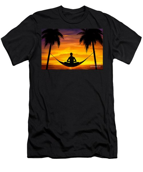 Yoga At Sunset Men's T-Shirt (Athletic Fit)