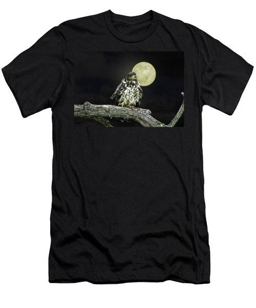 Men's T-Shirt (Slim Fit) featuring the photograph Young Bald Eagle By Moon Light by John Haldane
