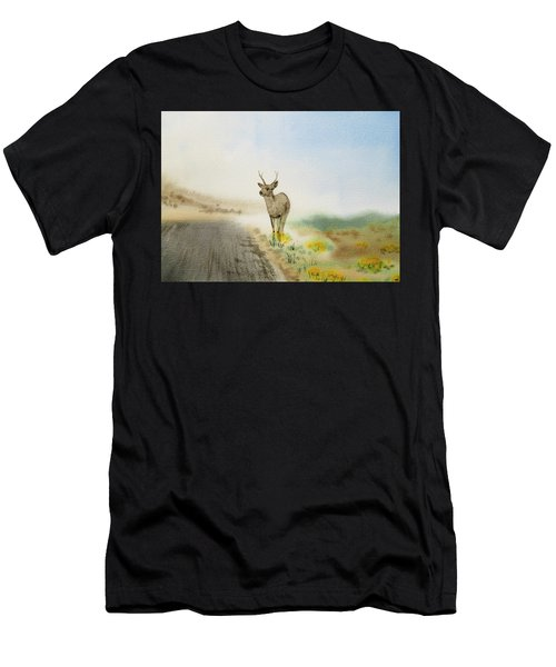 Young Deer On The Foggy Road Men's T-Shirt (Athletic Fit)