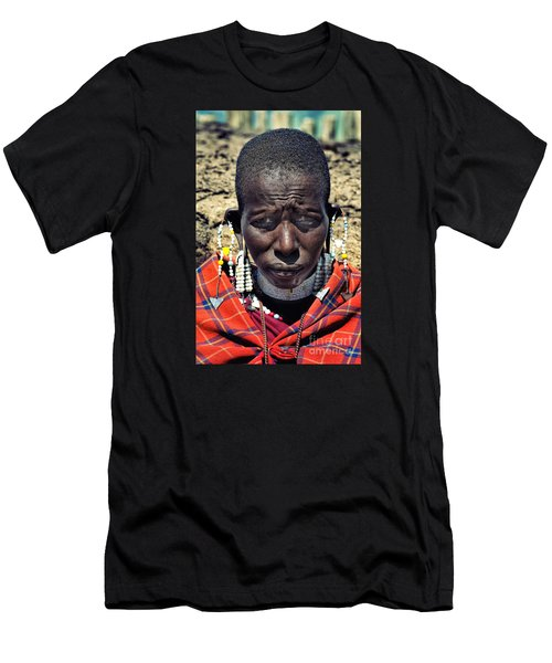 Men's T-Shirt (Slim Fit) featuring the photograph Portrait Of Young Maasai Woman At Ngorongoro Conservation Tanzania by Amyn Nasser