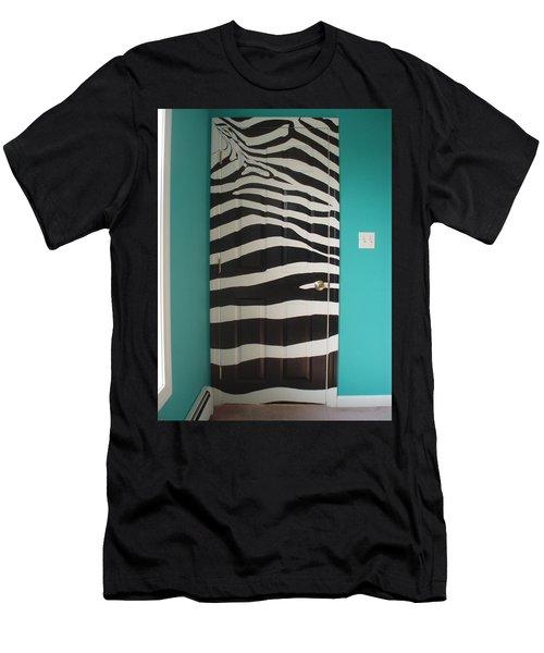 Zebra Stripe Mural - Door Number 2 Men's T-Shirt (Slim Fit) by Sean Connolly