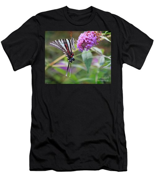 Zebra Swallowtail Butterfly On Butterfly Bush  Men's T-Shirt (Athletic Fit)