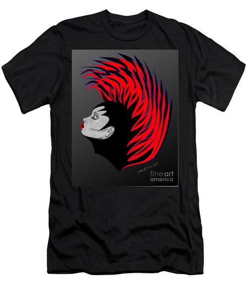 Men's T-Shirt (Slim Fit) featuring the drawing Zee Fire by Marianne NANA Betts