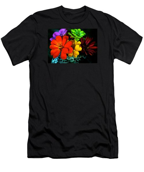 Men's T-Shirt (Slim Fit) featuring the photograph Zinnias by Lehua Pekelo-Stearns