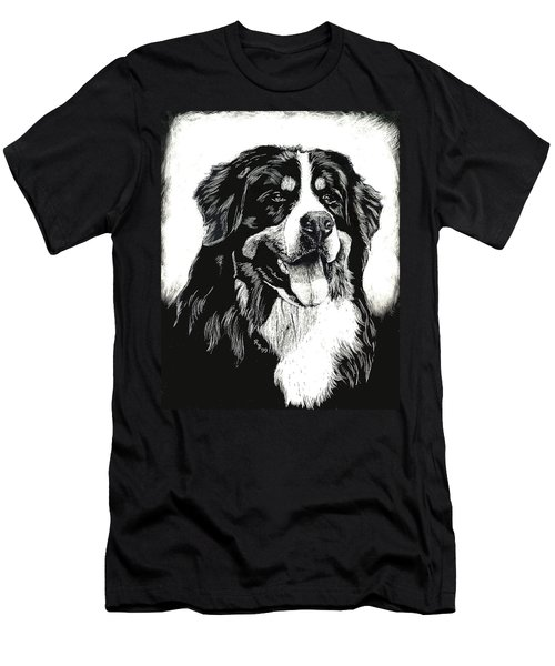 Men's T-Shirt (Slim Fit) featuring the drawing Bernese Mountain Dog by Rachel Hames