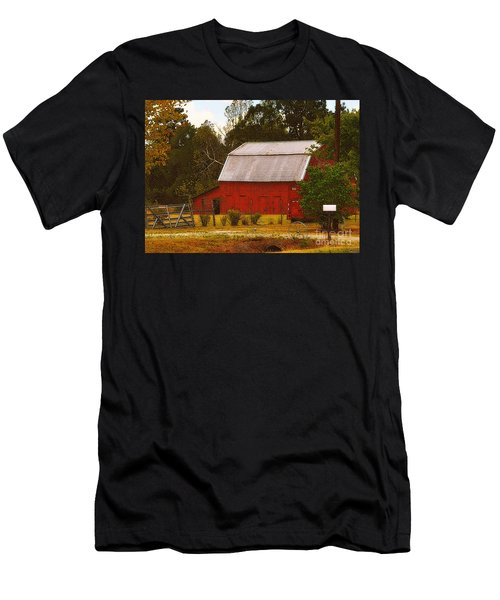 Men's T-Shirt (Slim Fit) featuring the photograph Ozark Red Barn by Lydia Holly