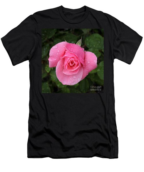 Pink Rose Macro Shot With Rain Drops Men's T-Shirt (Athletic Fit)