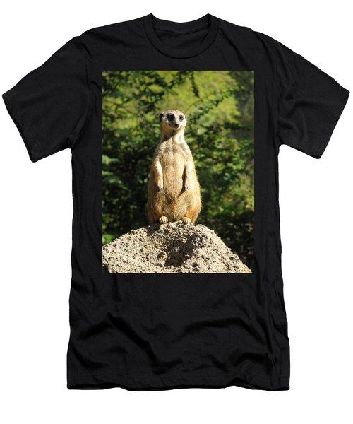Men's T-Shirt (Slim Fit) featuring the photograph Sentinel Meerkat by Carla Parris