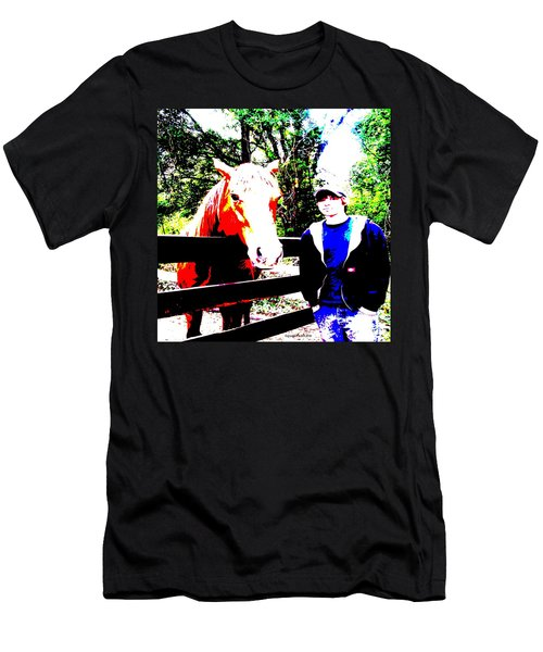 Men's T-Shirt (Slim Fit) featuring the photograph a Boy and his Horse by George Pedro