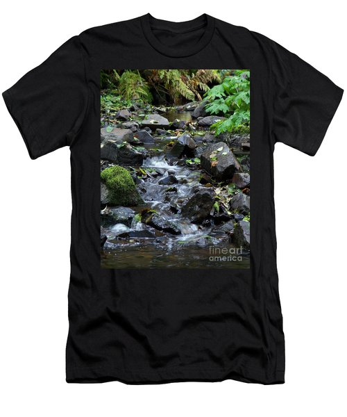 Men's T-Shirt (Slim Fit) featuring the photograph A Peaceful Stream by Chalet Roome-Rigdon