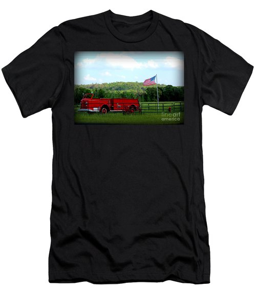 Men's T-Shirt (Slim Fit) featuring the photograph A Tribute To The Fireman by Kathy  White