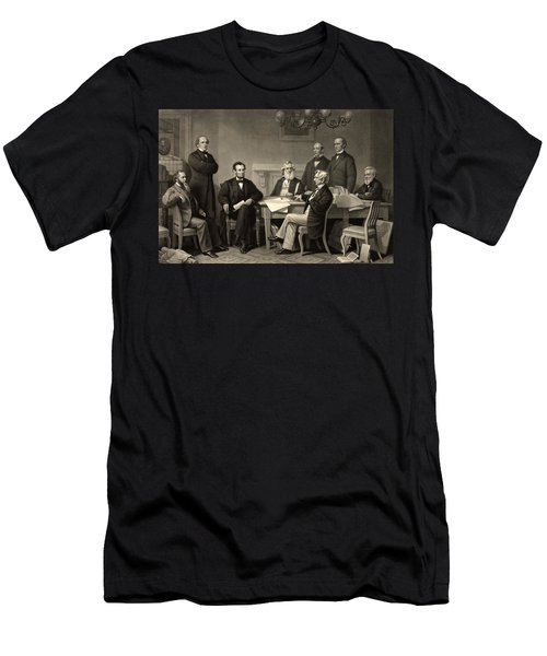 Men's T-Shirt (Slim Fit) featuring the photograph Abraham Lincoln At The First Reading Of The Emancipation Proclamation - July 22 1862 by International  Images