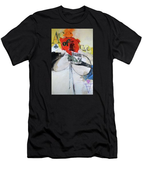 Men's T-Shirt (Athletic Fit) featuring the painting Ace Of Clubs 36-52 by Cliff Spohn