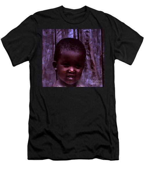 Men's T-Shirt (Slim Fit) featuring the pyrography African Little Girl by Lydia Holly