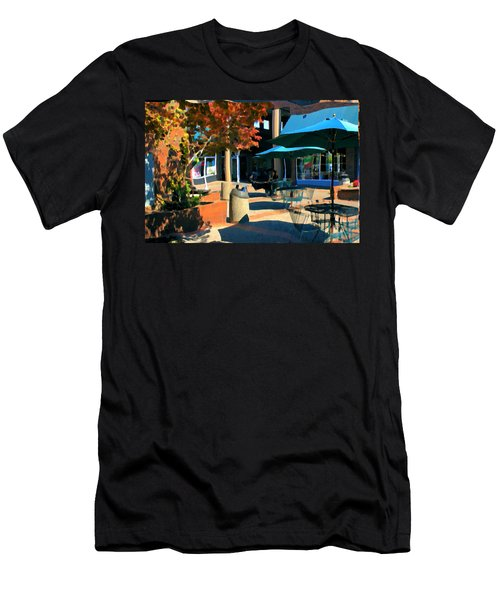 Men's T-Shirt (Slim Fit) featuring the mixed media Alice's Wonderland Cafe by Terence Morrissey
