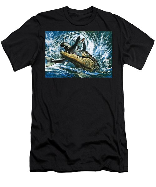 Alligator Eating Fish Men's T-Shirt (Athletic Fit)