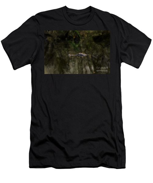 Men's T-Shirt (Slim Fit) featuring the photograph Alligator In Swamp by Dan Friend