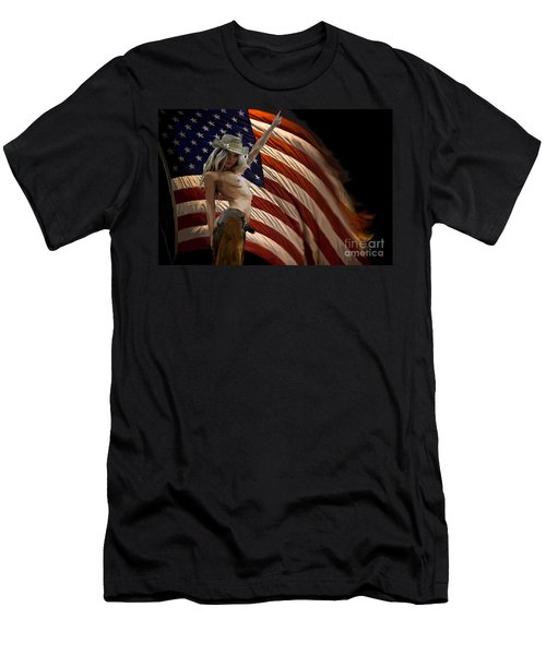 American Cowgirl Men's T-Shirt (Slim Fit) by Tbone Oliver