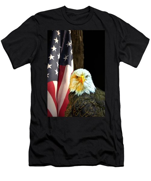 Men's T-Shirt (Slim Fit) featuring the photograph American Eagle And American Flag by Randall Branham