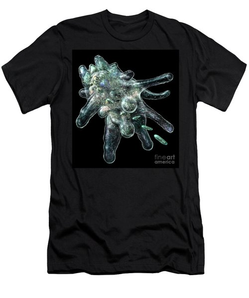 Men's T-Shirt (Slim Fit) featuring the digital art Amoeba Black by Russell Kightley