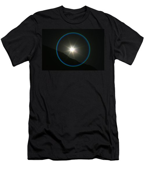 Men's T-Shirt (Slim Fit) featuring the photograph Annular Solar Eclipse - Blue Ring At Vasquez Rocks by Lon Casler Bixby