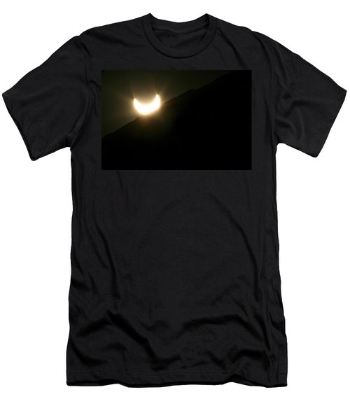 Men's T-Shirt (Slim Fit) featuring the photograph Annular Solar Eclipse At Sunset Number 2 by Lon Casler Bixby