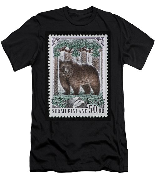 Bear Vintage Postage Stamp Print Men's T-Shirt (Athletic Fit)