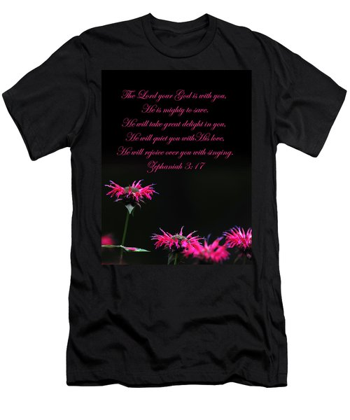 Men's T-Shirt (Slim Fit) featuring the photograph Bee Balm And Bible Verse by Randall Branham