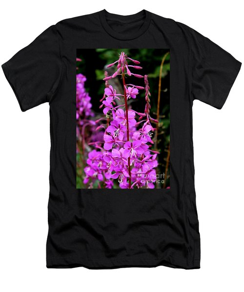 Men's T-Shirt (Slim Fit) featuring the photograph Bee On Fireweed In Alaska by Kathy  White