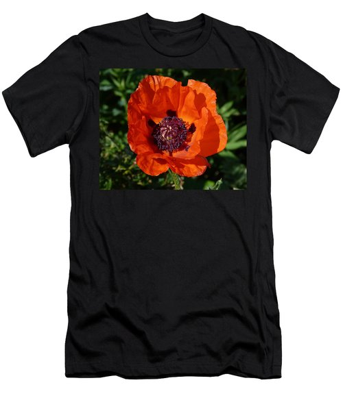 Men's T-Shirt (Slim Fit) featuring the photograph Big Red Poppy by Lynn Bolt