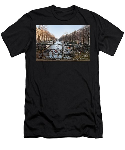 Bikes On The Canal In Amsterdam Men's T-Shirt (Slim Fit) by Carol Ailles