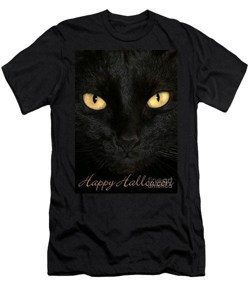 Black Cat Halloween Card Men's T-Shirt (Athletic Fit)
